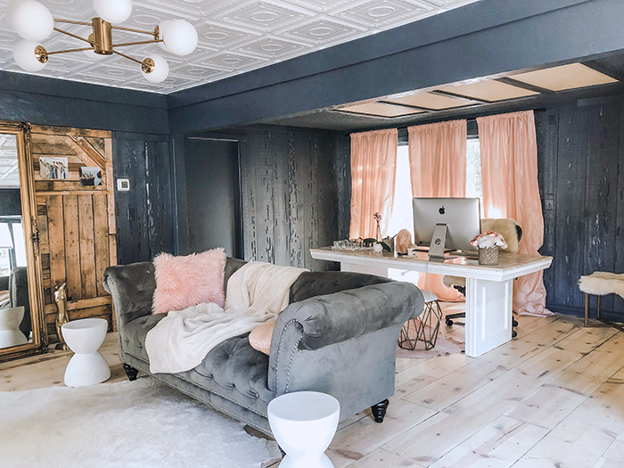 room makeover, dark walls, light raw white washed wood floors, pink curtains, old world meets contemporary design, bloggers offices, love maegans office in Lake Arrowhead