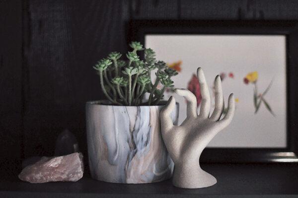 diy stone hand sculpture - swirl potted succulent-rose quartz crystals