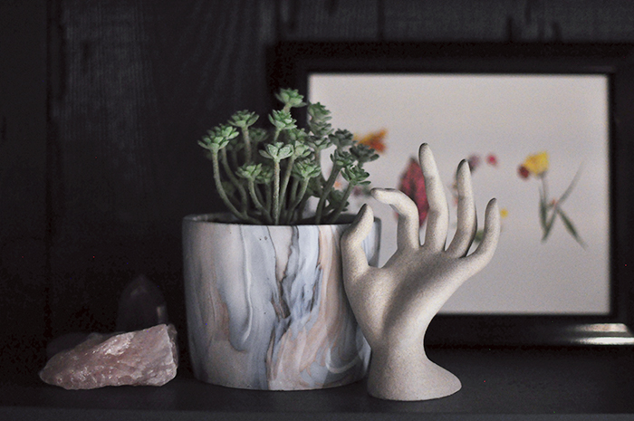 diy stone hand sculpture - swirl potted succulent-rose quartz crystals