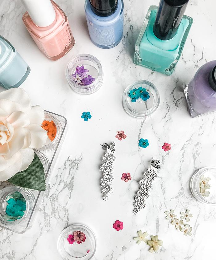 white gold earrings, flower ear jackets, pastel nails, tiny dot finger tattoo, love maegan blog