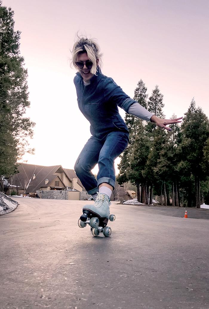 light blue btfl roller skates denim coveralls jumpsuit