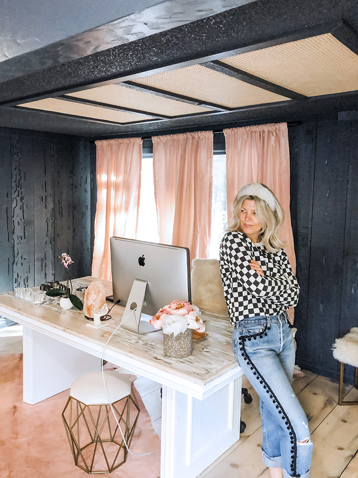 statement desk makeover in love Maegan's office, blogger offices, statement desks, use a table as a desk, room decor ideas, dark walls, pink curtains, large white desk