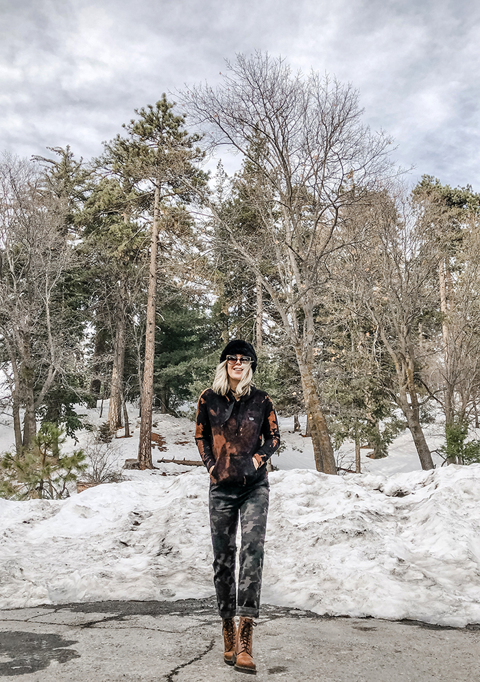 new moonlight roller skates, camo pants in the snow, bleach dye DIY sweatshirt, lake arrowhead, mixing prints, fashion blog
