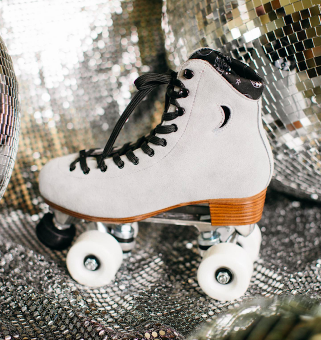 moonlight roller skates mirror ball grey skates with moon and white wheels