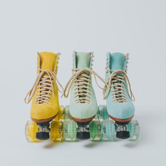 moxi roller skates in pastel suede, yellow, green and mint, pineapple, honeydew and floss roller skates