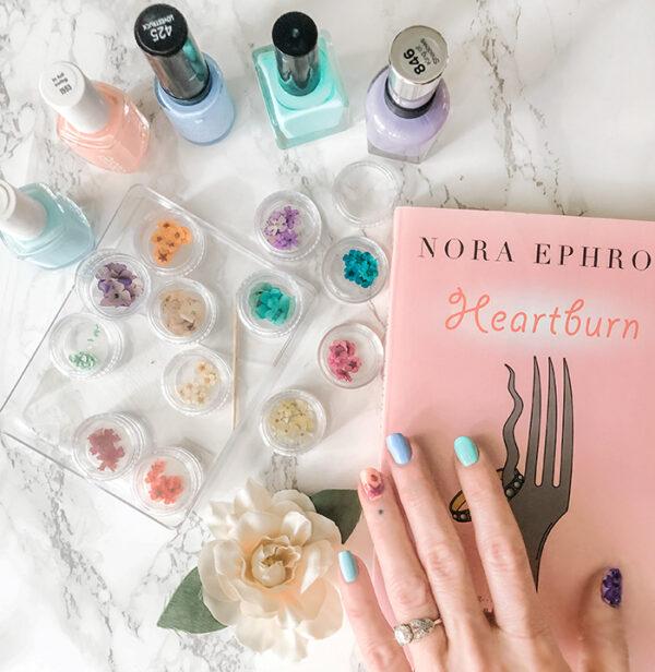 nora ephron heartburn-pastel nails with flowers