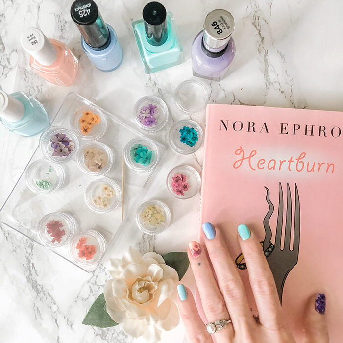 nora ephron heartburn-pastel nails with flowers