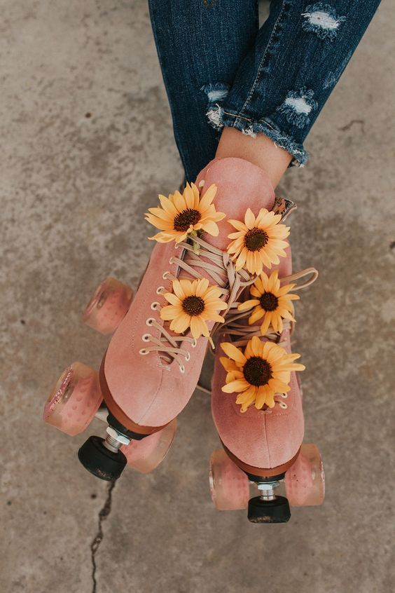 pink suede roller skates with sunflowers - moxi skates.jpg