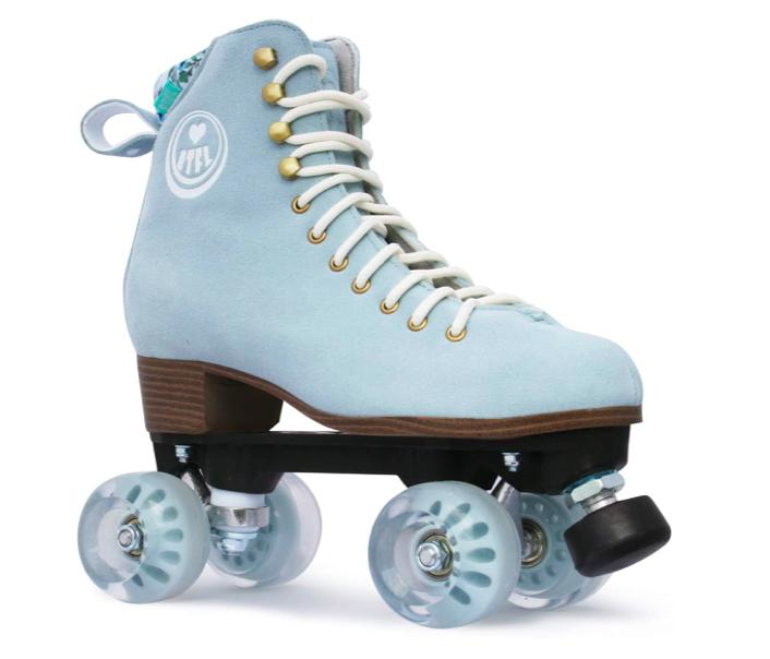 powder blue outdoor roller skates with blue wheelt BTFL