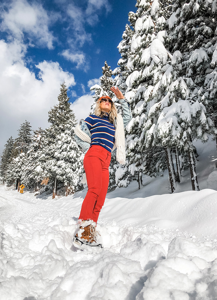 love maegan, winter style, outfits in the snow, snow style, red jeans, denim jackets, winter sky, snow days, california snow