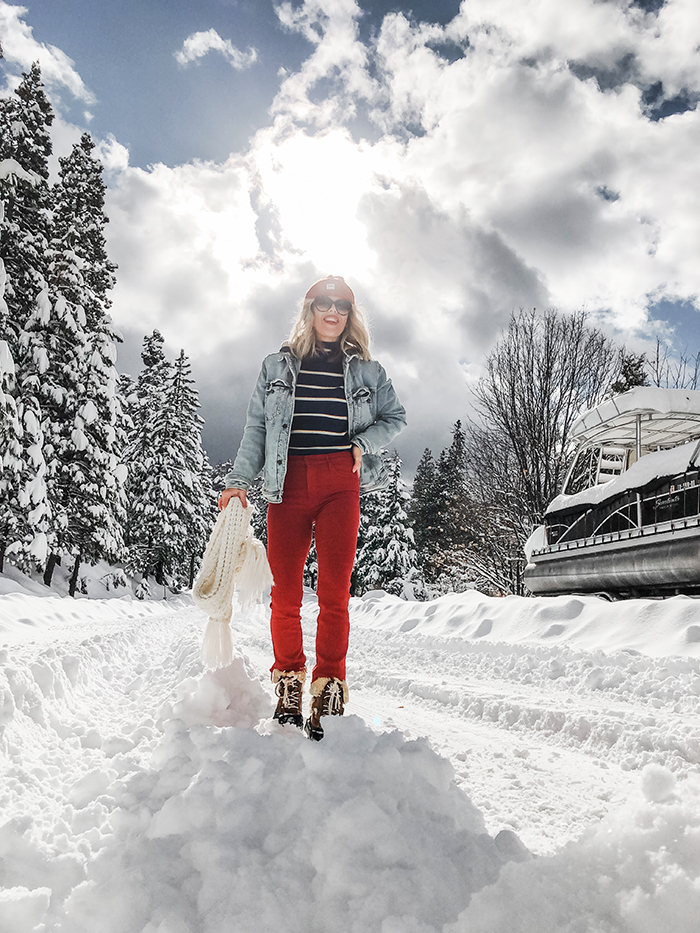 lake arrowhead winter snow, snow outfits, stormy sky, clouds, red jeans, striped turtleneck, blogger style, love maegan