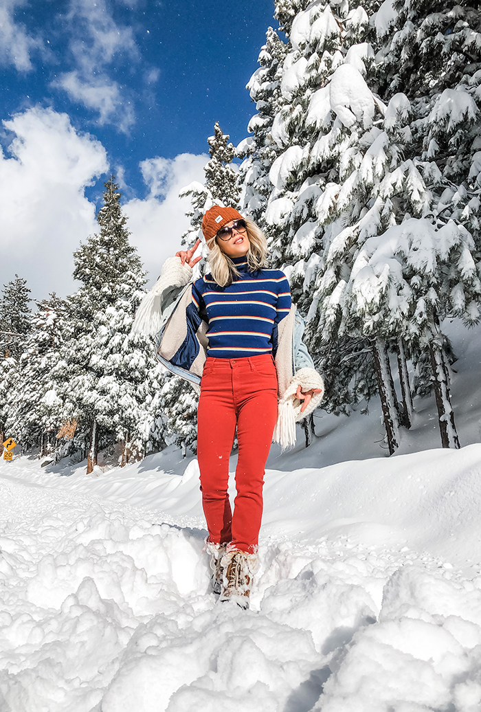 retro winter style, striped turtleneck, rust red pants, outfits in the snow, lake arrowhead, snow days, what to wear in the snow, winter sky, clouds