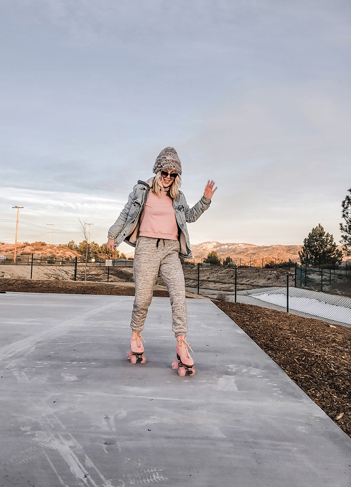 roller skating, pink moxi skates, moxi lollys, outdoor skates, winter style, what to wear with skates