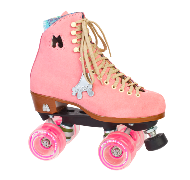 strawberry pink moxi lolly outdoor roller skates with pink wheels
