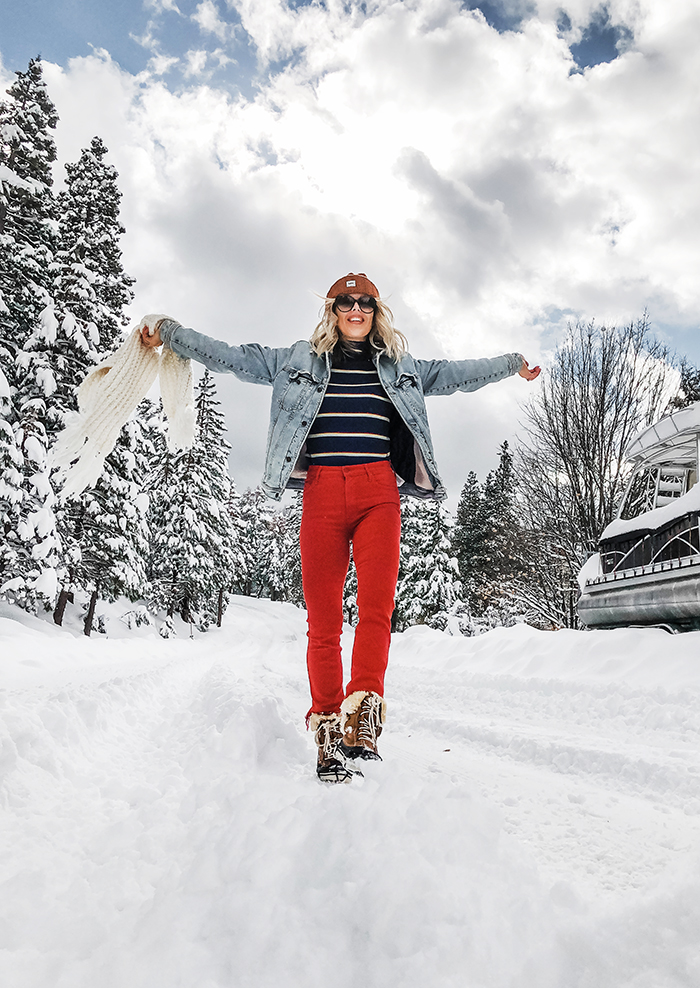 retro winter style, striped turtleneck, rust red pants, outfits in the snow, lake arrowhead, snow days, what to wear in the snow