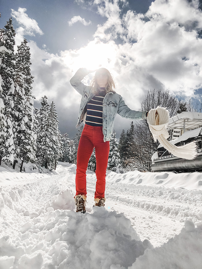 outfits in the snow, winter style, retro 70s style, 80s style, striped turtleneck, red pants, snow boots