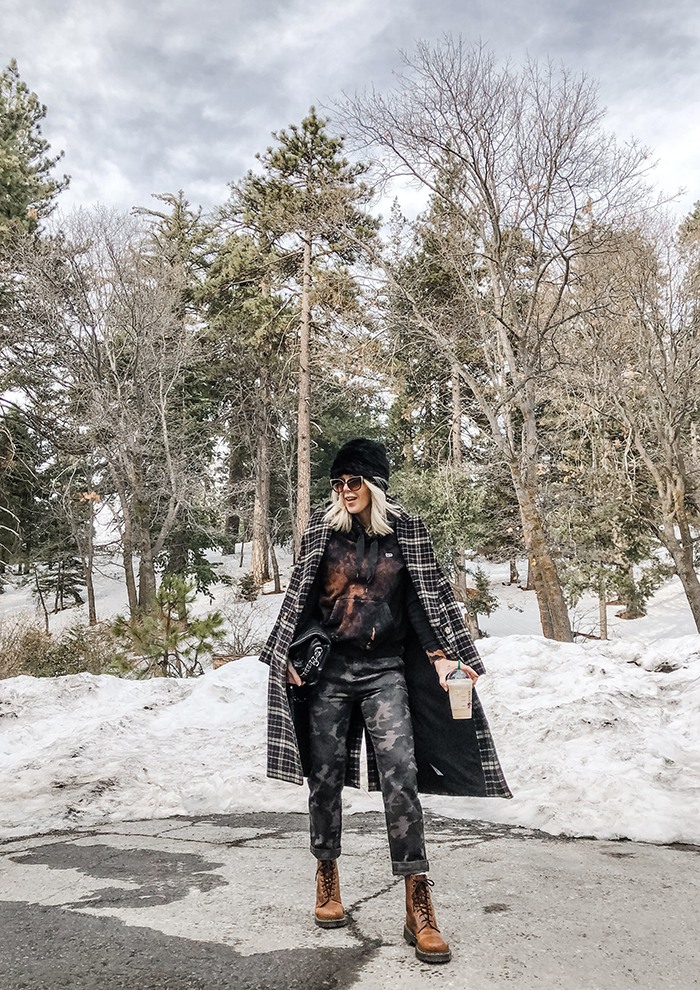 winter style, outfits in the snow, outfits with dr martens, how to diy bleach dye a black hoodie sweatshirt, mixing plaid and tie dye and camo prints