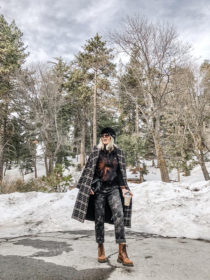 new moonlight roller skates, camo pants in the snow, bleach dye DIY sweatshirt, lake arrowhead