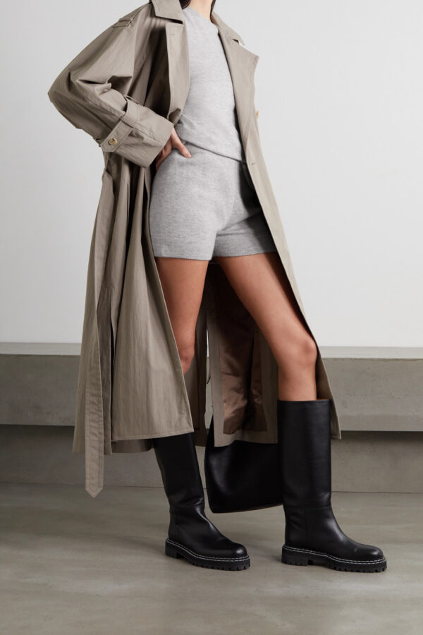 cashmere matching short set with trench coat and rain boots