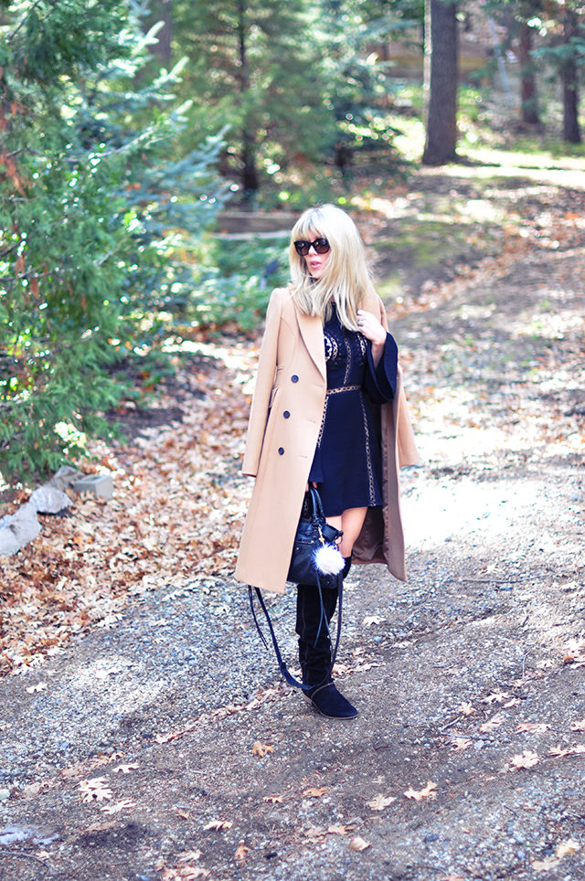 boho chic style, mini dress from free people with camel coat and over the knee boots