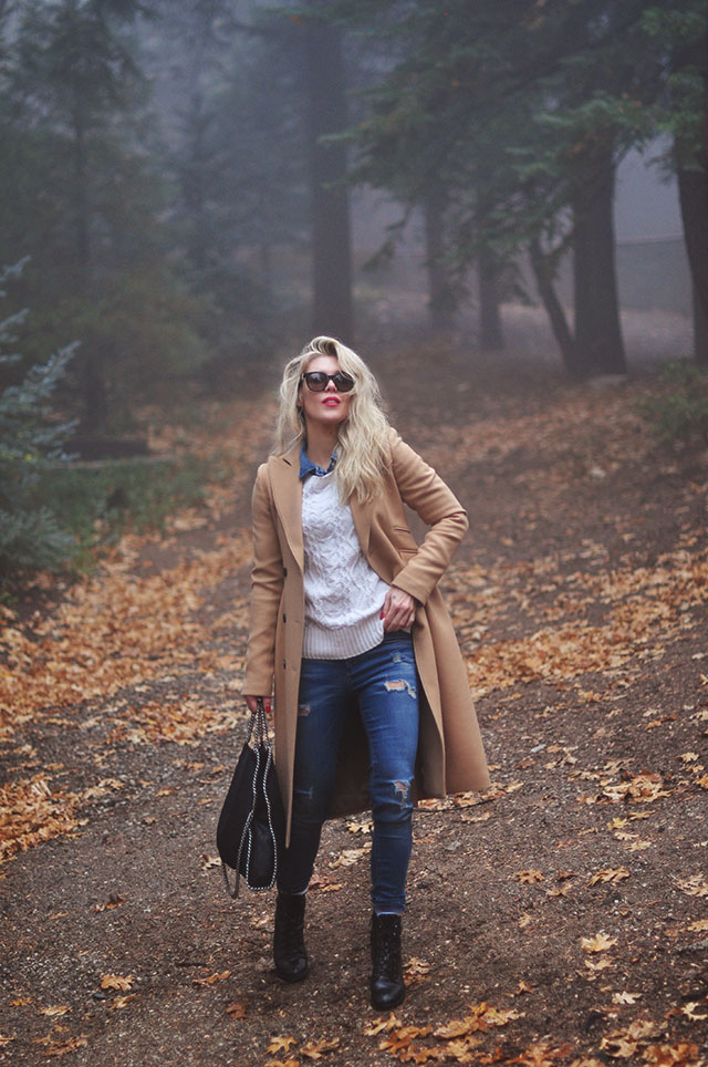 classic jeans and sweater winter outfit with a camel coat