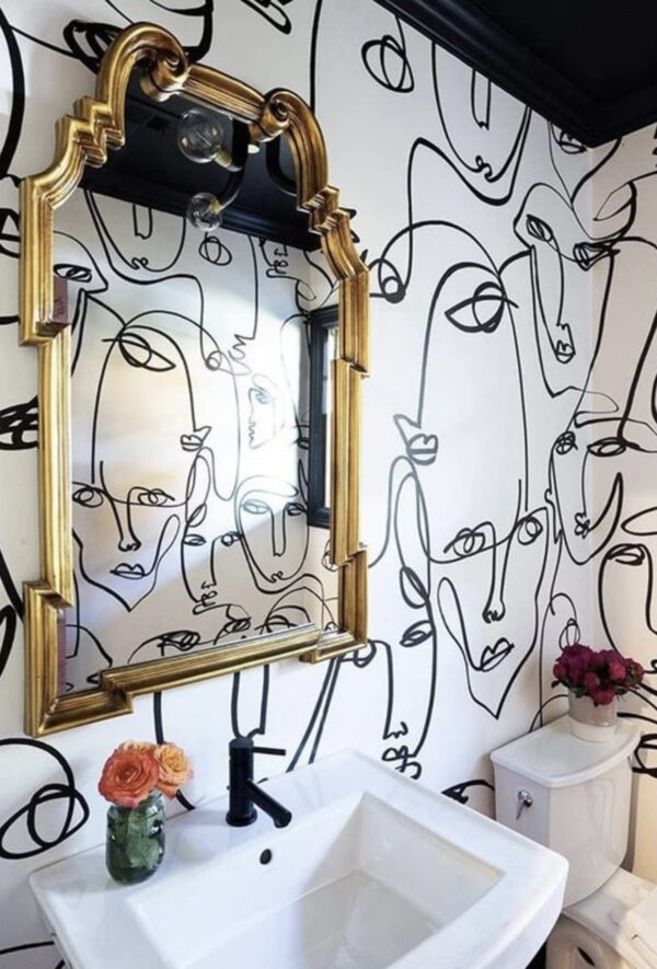 hand painting abstract line art faces on the wall, wallpaper alternative, painted wallpaper, powder room design ideas