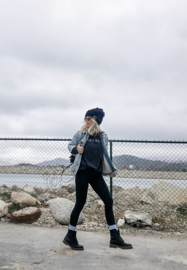90s style, leggings and docs, dr martens, oversized denim jacket, MOTHER tee, distressed long sleeve t-shirt, lake arrowhead