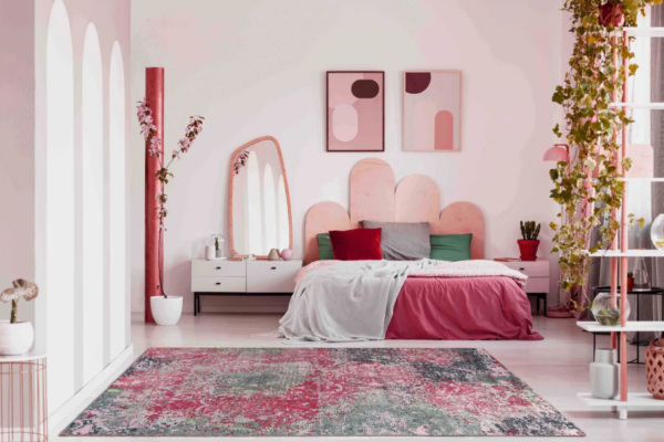 multicolor rug with pink in contemporary 80s bedroom
