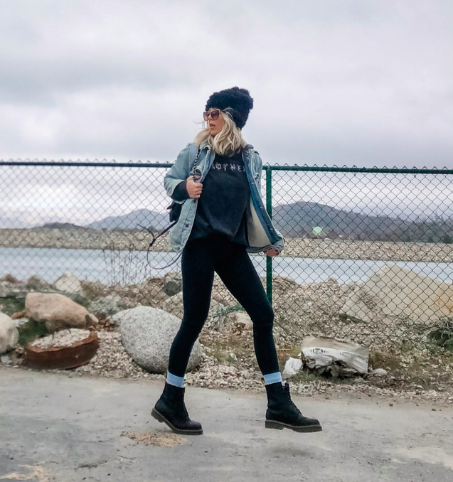 90s look, oversized tee, MOTHER, denim jacket, docs and leggings, dr martens, by the lake, lake arrowhead, winter style, cloudy day, overcast