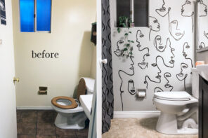 Office Bathroom Makeover with Hand-painted Art Accent Wall