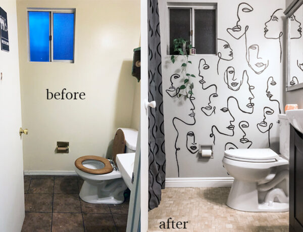 before and after small bathroom makeover with hand painted wall art