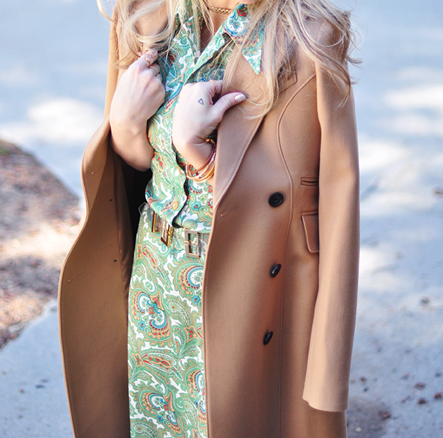 camel coat details, vintage green dress, how to buy a great came coat, classic camel coats