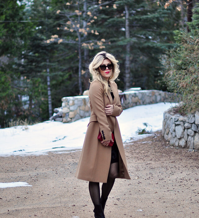 how to wear a camel coata, camel coat with black dress, winter style