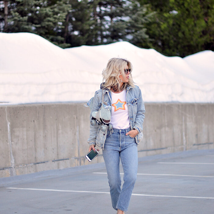 casual style-denim on denim-roller skates-vans-star t-shirt-love maegan lake arrowhead
