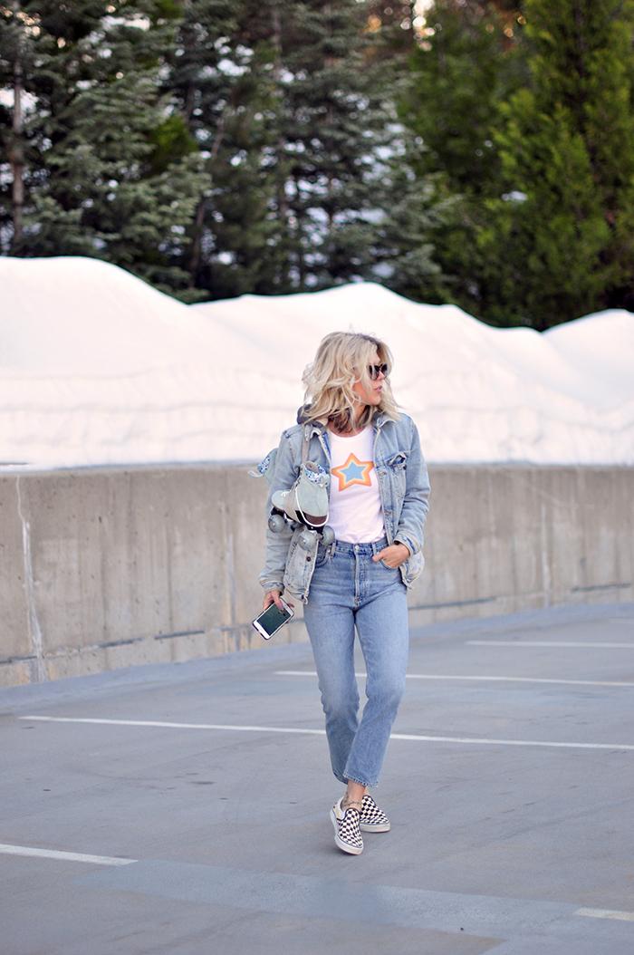 roller skating outfit, spring style, high waist jeans, light wash jeans, denim on denim, oversized denim jacket, checkered vans, what to wear in spring 2021, btfl roller skates