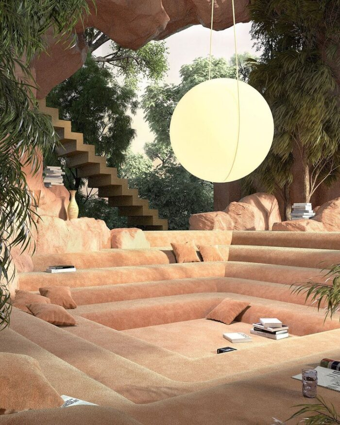 joe mortell, 3d art rendering, sunken living room, amazing spaces, dreamy space, architecture, decor ideas