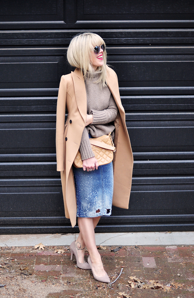 how to wear a camel coat, distressed denim skirt with a sweater, nude heels, camel coat by SMYTHE