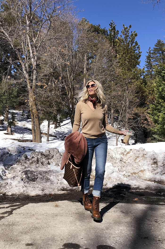 winter style, outfit in the snow, jeans and dr martens, faux fur coat, louis vuitton neverfull mm bag, style blogger, lake arrowhead, love  maegan