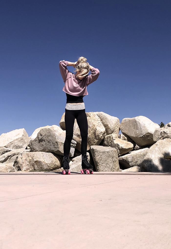 roller skating outfit, black suede skates, moxi roller skates, moxi panther skates