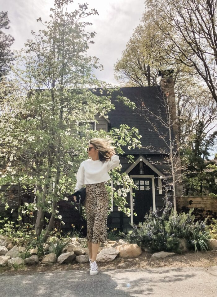 spring style, leopard slip dress with cropped sweatshirt and adidas sneakers, lake arrowhead, dogwood trees blooming, lake arrowhead, california style, summer outfit