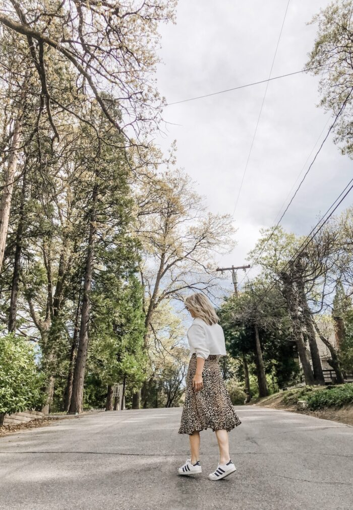 spring style, leopard slip dress with cropped sweatshirt and adidas sneakers, lake arrowhead, dogwood trees blooming, lake arrowhead, summer outfits