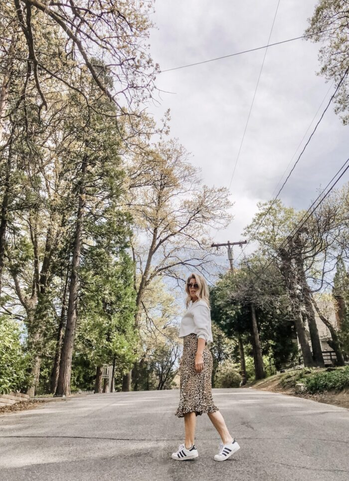 spring style, leopard slip dress with cropped sweatshirt and adidas sneakers, lake arrowhead, dogwood trees blooming, lake arrowhead