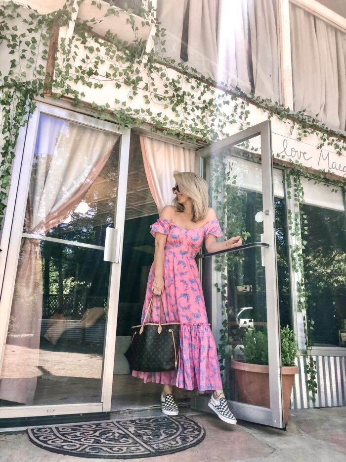 summer outfits, dresses with sneakers, long pink dress, louis vuitton neverfull bag, checkered vans, diys, ivy on the walls, installing faux ivy outside, cute a-frames, plants