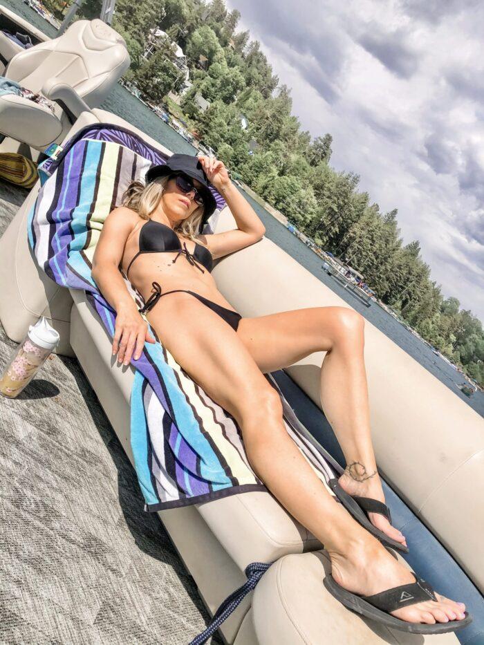 black bikini bathing suit, black triangle top, on the boat, lake life, lake arrowhead
