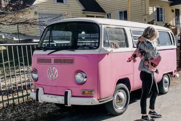 pink VW volkswagon bus, retro cars, vintage volkswagon bus, van, pink cars, pink, roller skates, pink skates, lake arrowhead, california style
