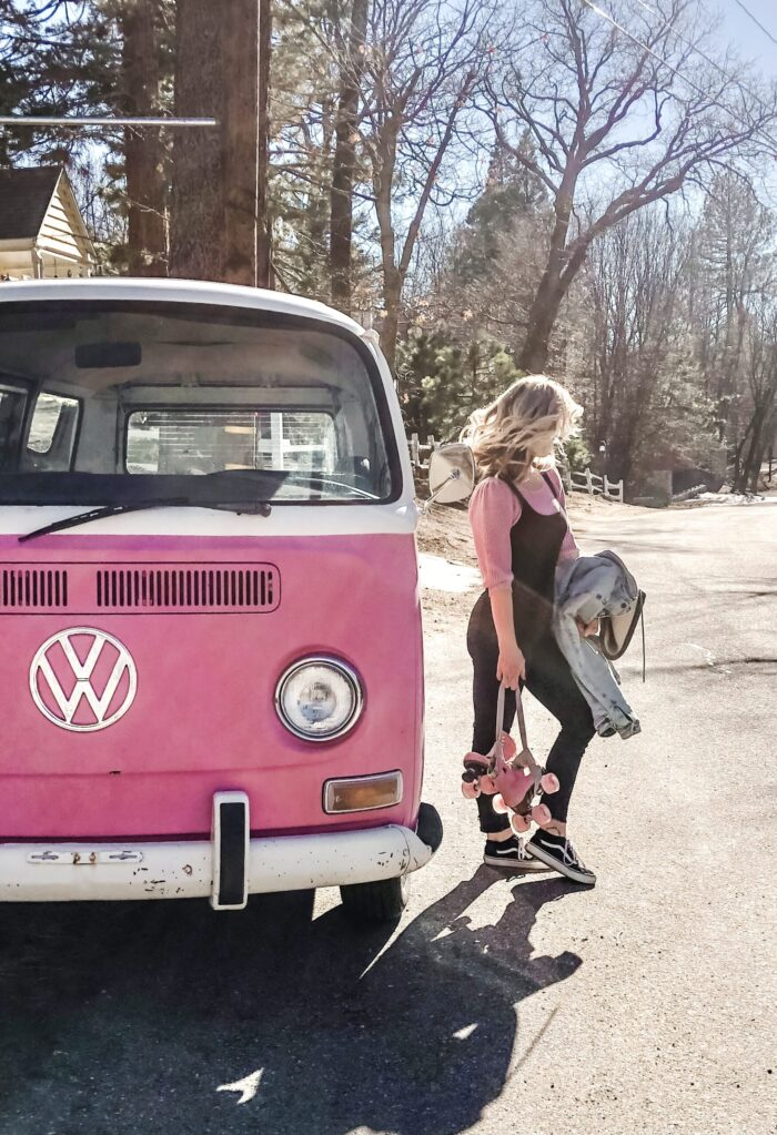 late summer style, pink VW volkswagon bus, california style, retro cars, vintage volkswagon bus, van, pink cars, pink, roller skates, pink skates, lake arrowhead, roller skating