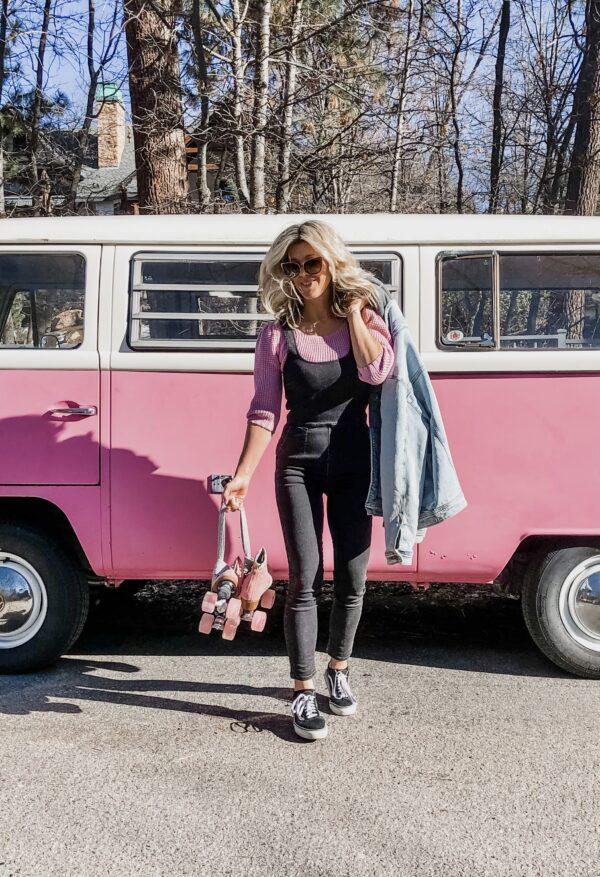 pink retro volkswagon bus, overalls, summer style, pink and black, roller skates, pink roller skates, roller skating, moxi roller skates
