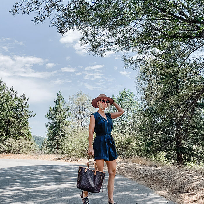 silk blue black romper-snakeskin flats-louis vuitton neverfull bag-fashion blogger-style over 40-lake arrowhead-sky-trees