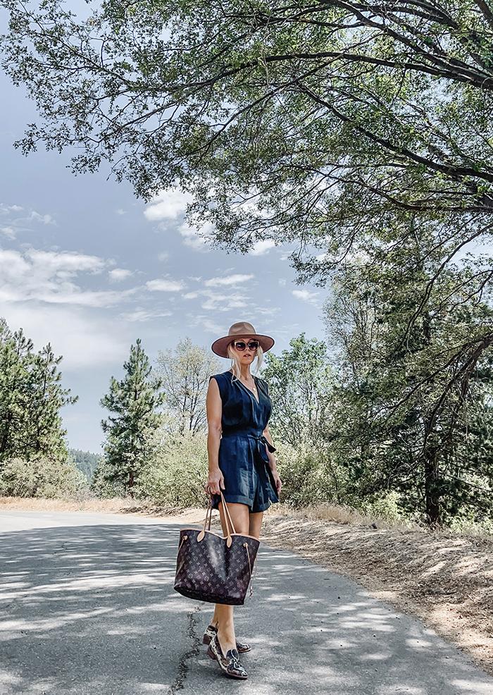 Summer style, silk romper, snakeskin flats, louis vuitton neverfull MM bag, camel wide brim hat, lake arrowhead, california fashion bloggers
