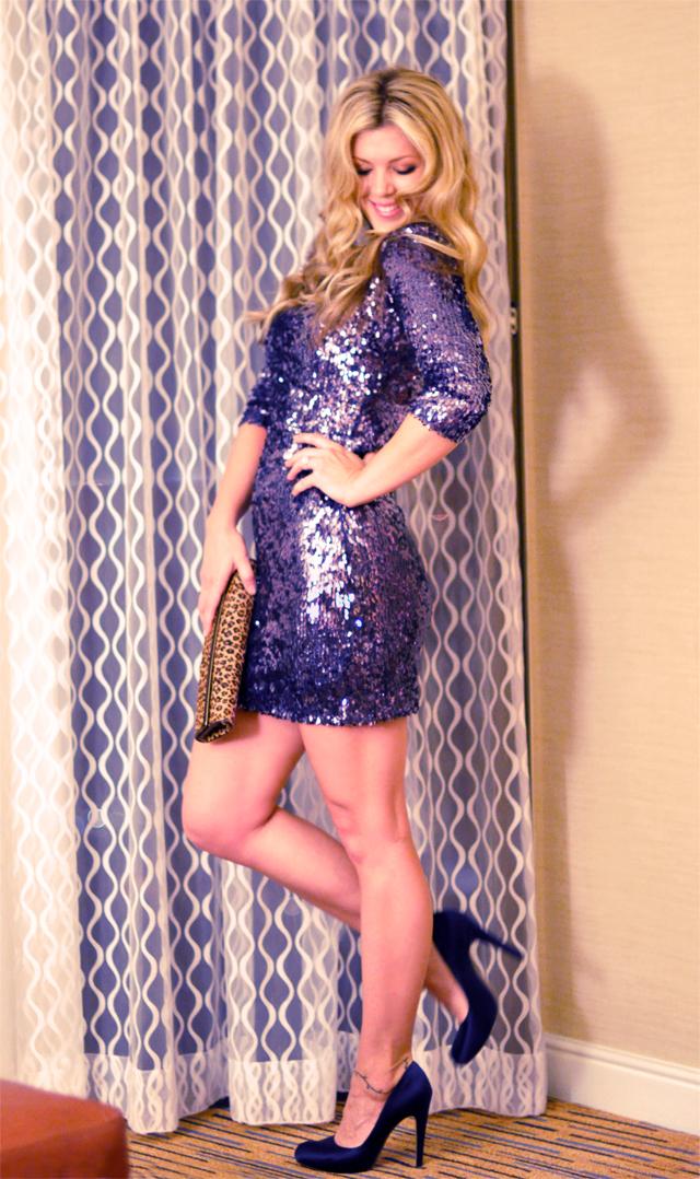 diy dress, blue sequin dress